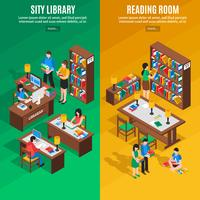 Library Isometric Vertical Banners