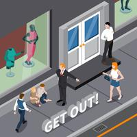 Man Expelling Homeless Persons Isometric Scene vector