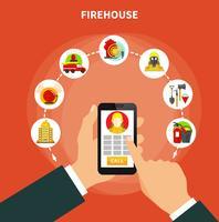 Concepto de lucha contra incendios plana