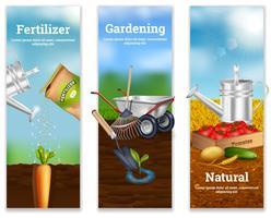 Três bandeiras verticais de agricultura