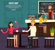 Composición plana de trabajador de café
