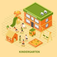 Kindergarten Building Isometric Composition