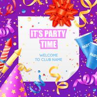 Plantilla colorida festiva de la invitación del aviso del partido