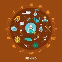 Fishing Icons Round Composition