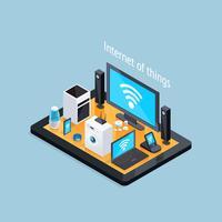 Internet do cartaz isométrico das coisas