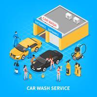 Servicio de lavado de coches ilustración isométrica