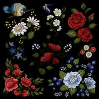 Blumenstickerei-Volksmode-Muster