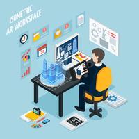 Composizione isometrica sul posto di lavoro realtà aumentata