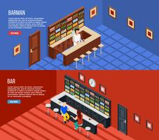 Bar People Isometric Banner Set