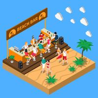 Beach Bar Isometric Composition