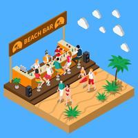 Beach Bar Isometric Composition