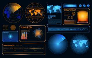 Futuristic Radar Interface Composition