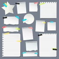 Uppsättning pappersskrot och rena skivor