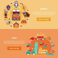 Russia Italy Touristic Banners