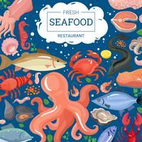 Fond de restaurant de fruits de mer frais