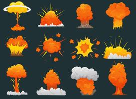 Retro Cartoon Explosion Icon Set vector