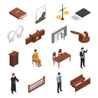 Law Justice Isometric Icons Set