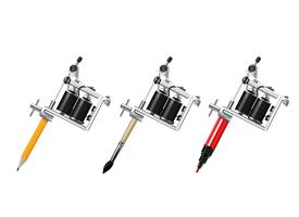Tattoo Machine Drawing Set vector