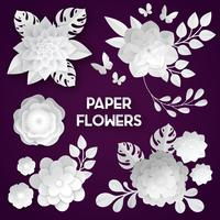 White Paper Flowers Dark Background vector
