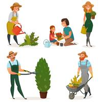 Gartenarbeit-Hobby-Ikonensatz