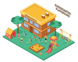 Kindergarten Isometric Composition