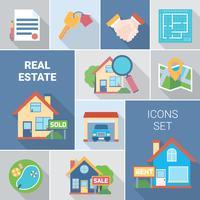 Conjunto de ícones imobiliários e agência