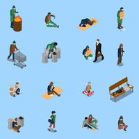Homeless People Isometric Set