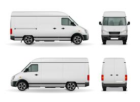 Realistic Cargo Van Advertising Mockup vector