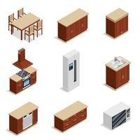Kitchen Furniture Isometric Icons Set