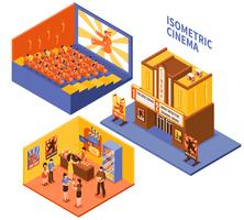 Set di composizioni isometriche del cinema