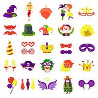 Mascarada de carnaval gran conjunto de colores