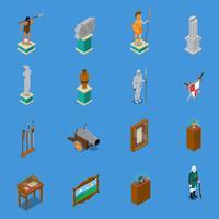 Musée isométrique Icons Set