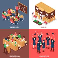 School 4 Isometric Icons Concept