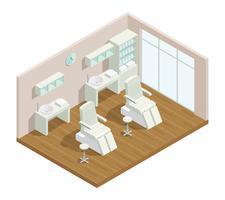 Interiore isometrico dello studio di cosmetologia