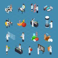 Ensemble d'icônes isométriques liées aux OGM
