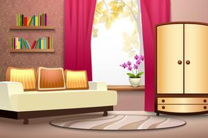 Ilustração Interior de desenhos animados de quarto