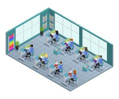 Garment Factory Isometric Composition