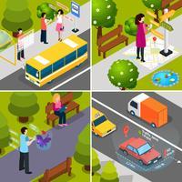 Conjunto de iconos isométricos de realidad aumentada virtual