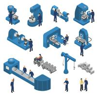 Machine Tools With Workers Isometric Set