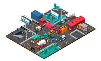 Accident On Crossroad Isometric Illustration