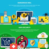 Dangerous Mail And Data Security Flat Banners