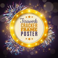 Feuerwerk-Cracker-Rahmen-buntes Hintergrund-Plakat