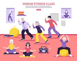 Cartel de clase de fitness Senior