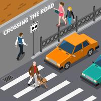 Illustrazione isometrica di Cross Blind Person On Crosswalk