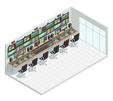Broadcast Studio Isometric Interior vector