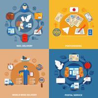 Composições coloridas de serviço postal