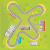 Composição plana do curso de corrida