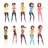 Maladie femme rétro Cartoon Icon Set