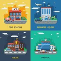 Government Buildings 2x2 Flat Design Concept