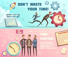 time management retro cartoon banners